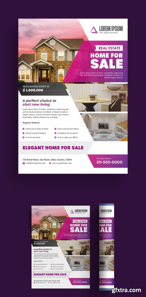Flyer Layout with Purple Gradient Elements 315762477