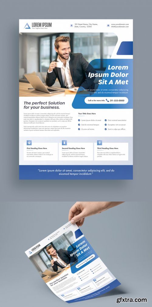 Business Flyer Layout with Blue Accents 315765071