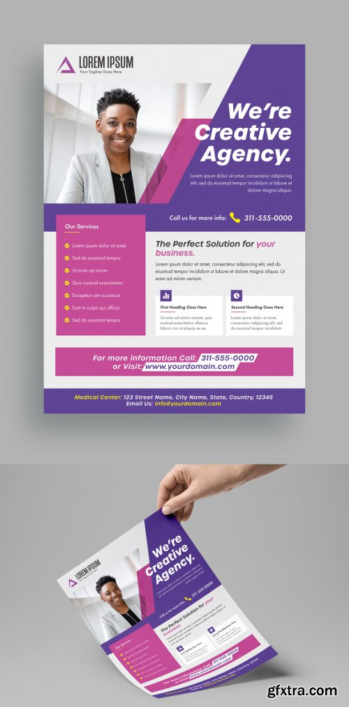 Pink and Purple Business Flyer Layout 316003107