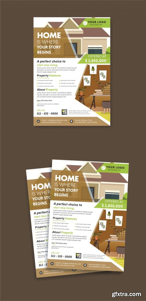 Flyer Layout with Real Estate Illustrations 316003874
