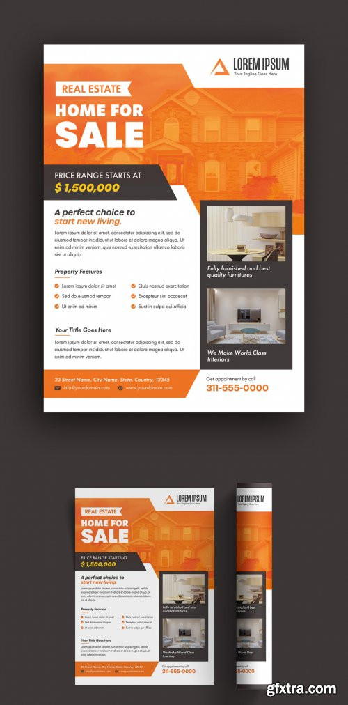 Flyer Layout with Orange Accents 316003216