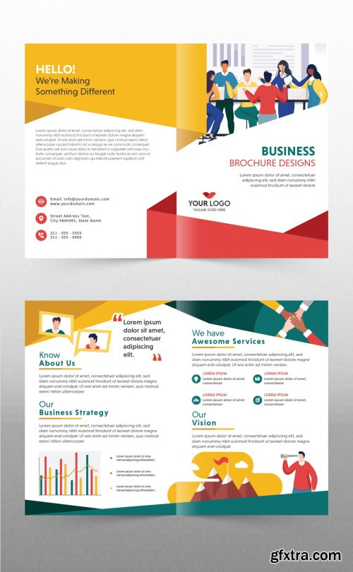 Bright Business Flyer Layout with Vector Character Illustrations 316003951
