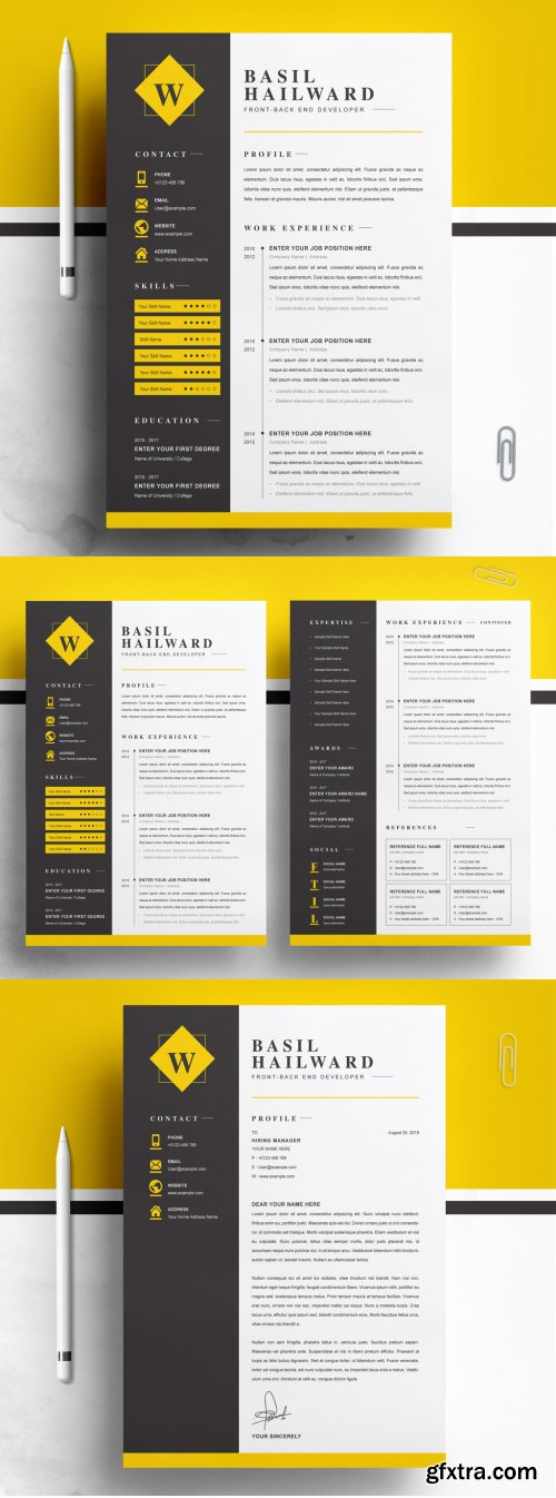 Resume Layout with Black and Yellow 316255167