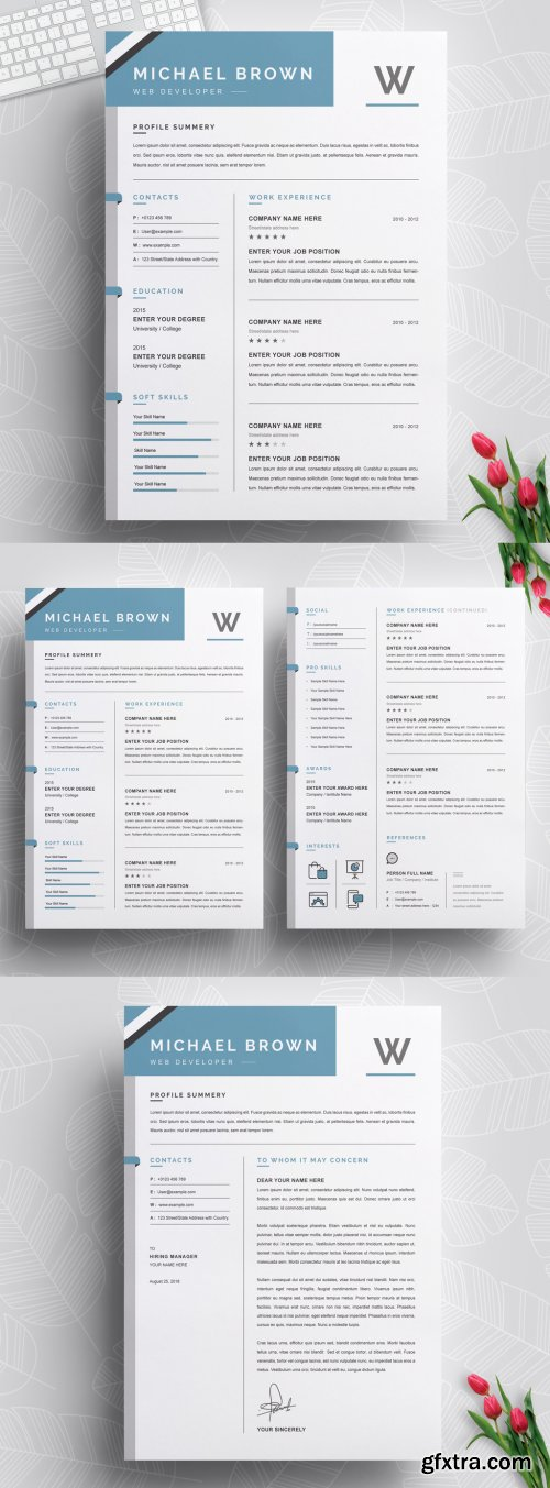 Clean and Professional Resume and CV Layout 316254285