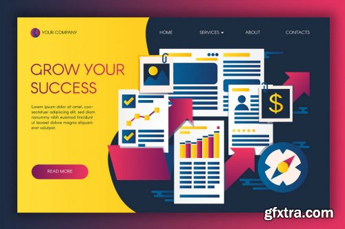 Infographics Of Business Success Landing Template