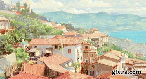 Gumroad - Acciaroli_Italia - Photoshop Painting Video (Real Time)