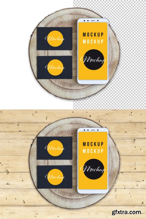 Business Cards and Smartphone Wood Slice Mockup 317591386