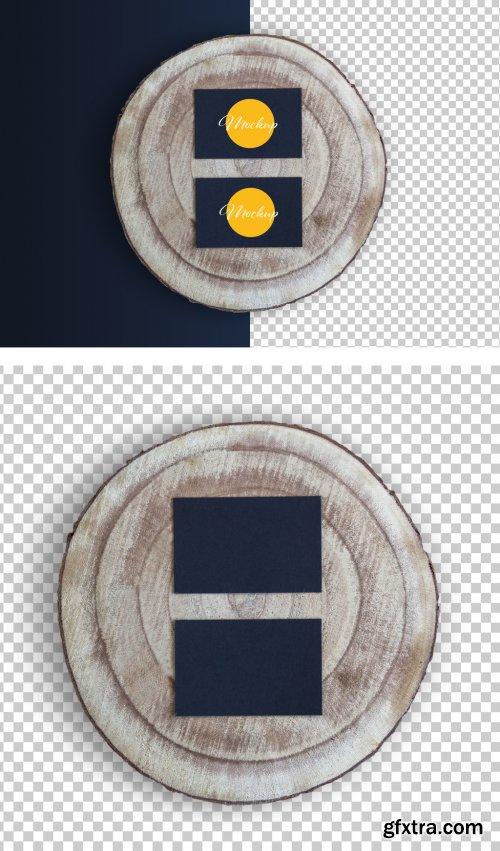 Two Black Horizontal Business Card on Wood Slice Mockup 317591414