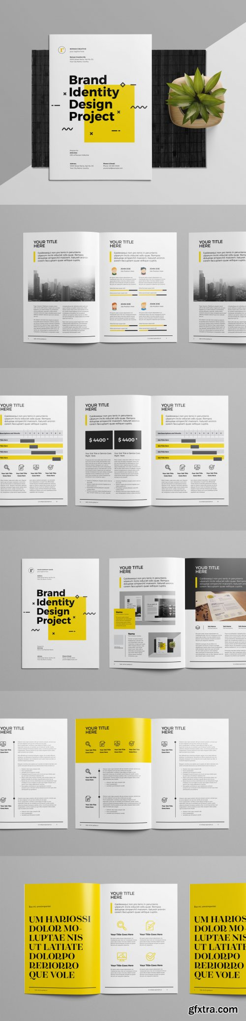 Brand Identity and Proposal Layout with Yellow Accents 223606446