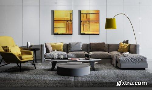 Modern sofa lounge chair floor lamp combination