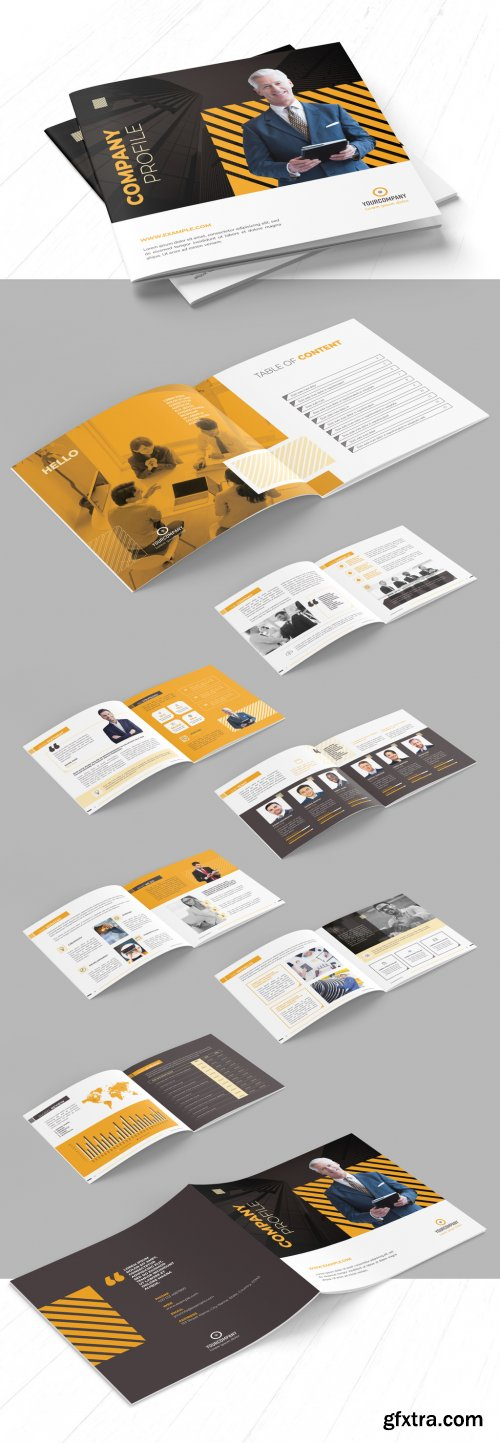 Company Profile Brochure Layout with Orange Accents 290594670