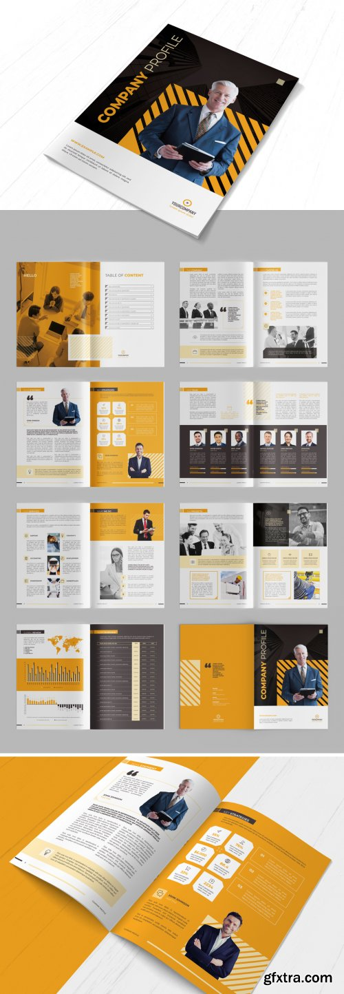 Company Profile Brochure Layout with Orange Accents 290594817