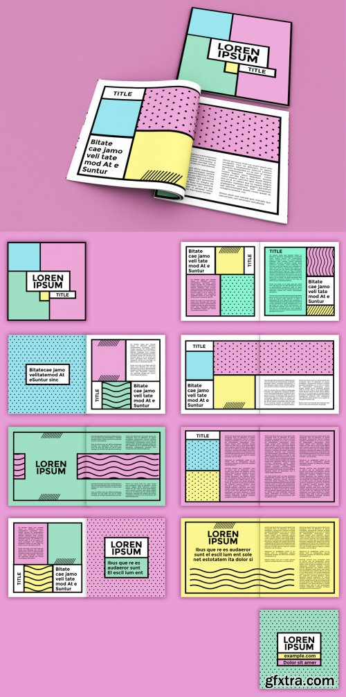Square Magazine Layout with Pop Style Elements 268044936