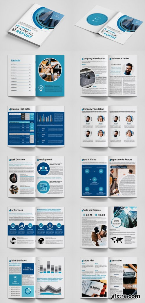 Annual Report Layout with Blue Accents 233828535