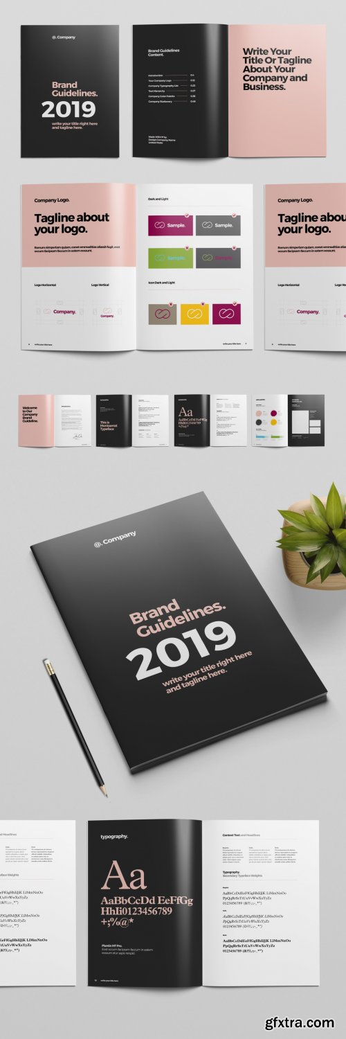 Black and Pink Brand Guideline Brochure Layout 319015654