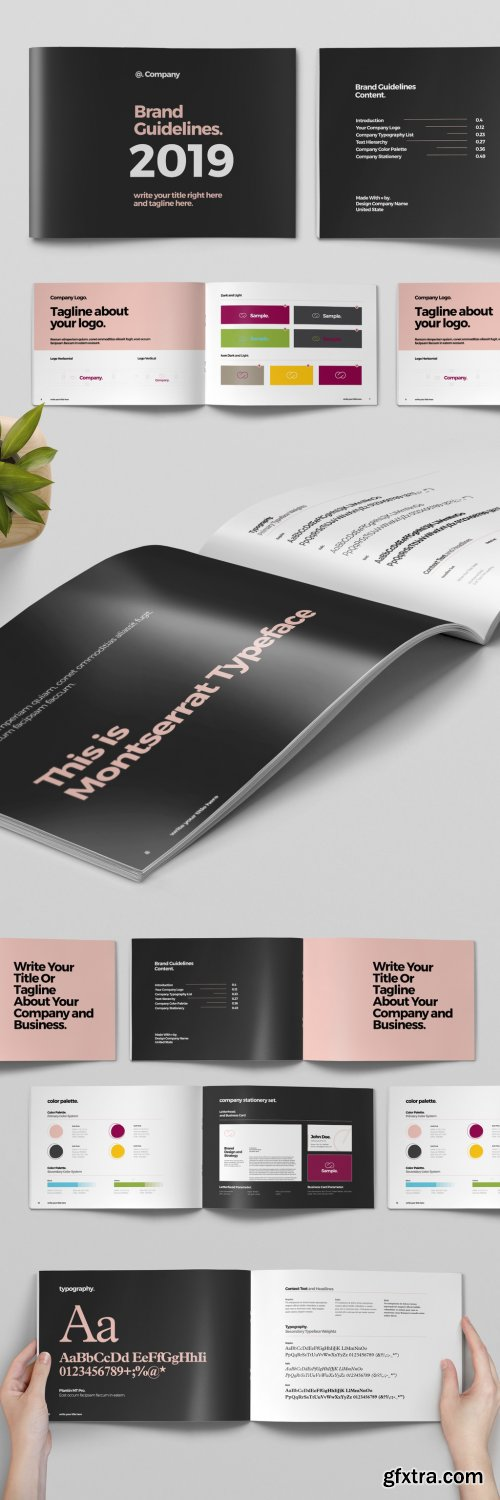 Black and Pink Brand Guideline Brochure Layout 319015655