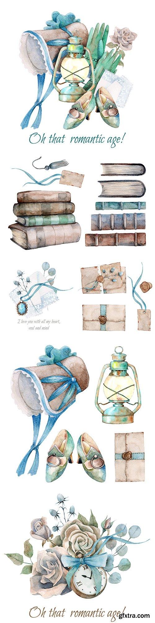 Watercolor composition romantic elements and decorative colors