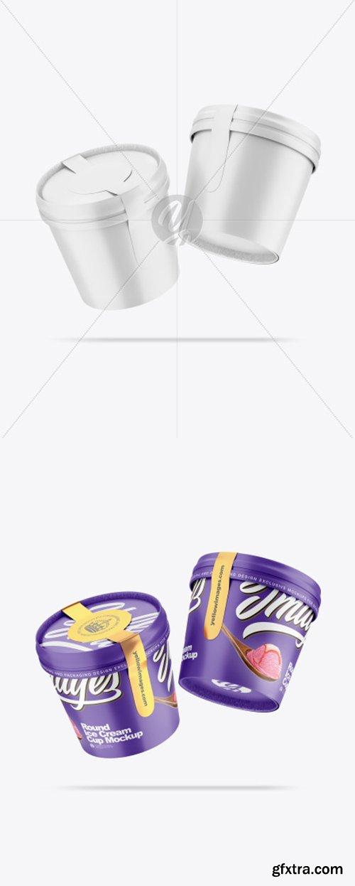 Two Matte Ice Cream Cups Mockup 54783