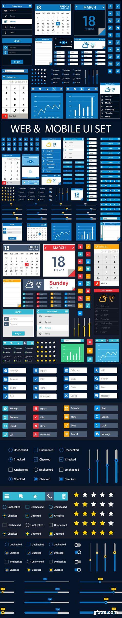 Web & Mobile UI KIT Vector Templates Collection