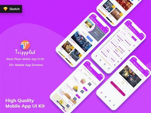 Tripppled - Movie Booking Mobile App UI Kit (Sketch) - tripppled-movie-booking-mobile-app-ui-kit-sketch