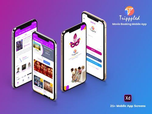 Tripppled-Movie Booking Mobile App UI Kit (XD) - tripppled-movie-booking-mobile-app-ui-kit-xd