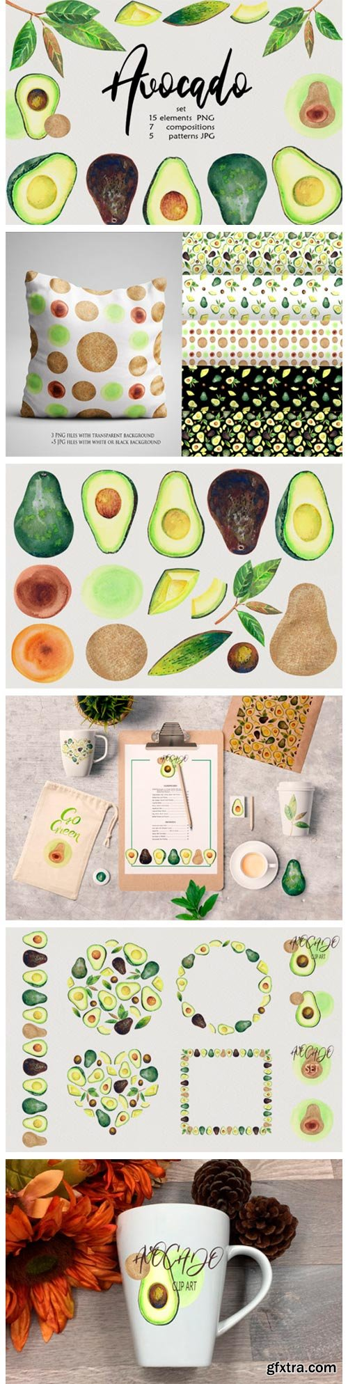 Watercolor Avocado Clip Art 2756979