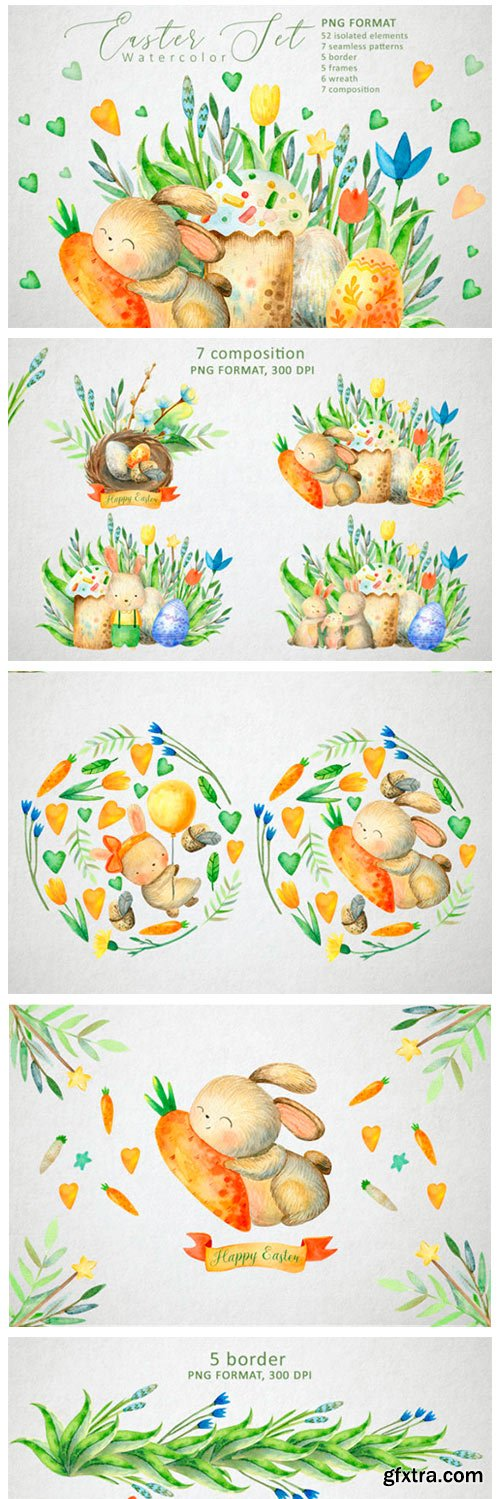 Happy Easter Watercolor Set 2766802