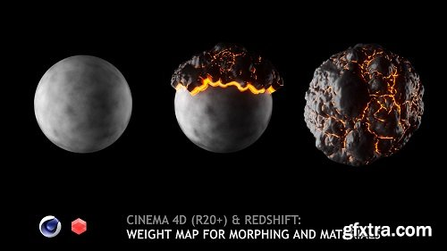 Cinema 4D (R20+) & Redshift: Weight (Vertex) map for morphing and materials