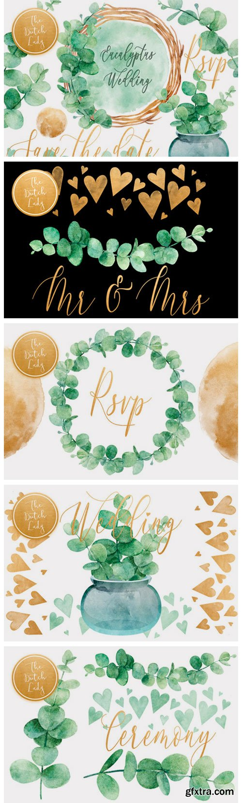 Eucalyptus Wedding Card Clipart Set 2769412