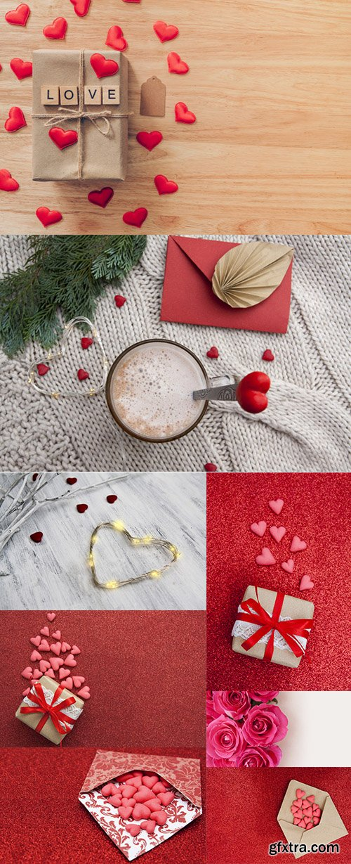 Red Hearts and Gift Box Premium Stock Photo Set