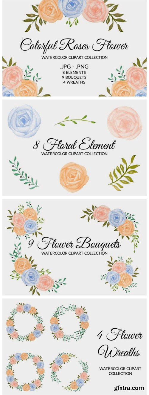Colorful Rose Flower Watercolor Clipart 2775255