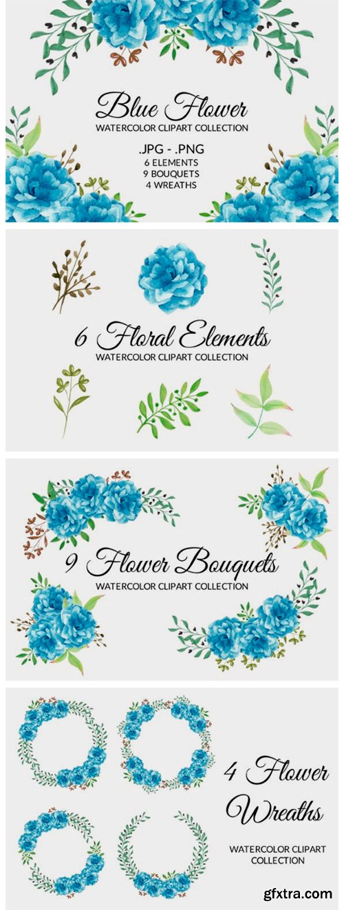 Blue Flower Watercolor Clipart Set 2775316