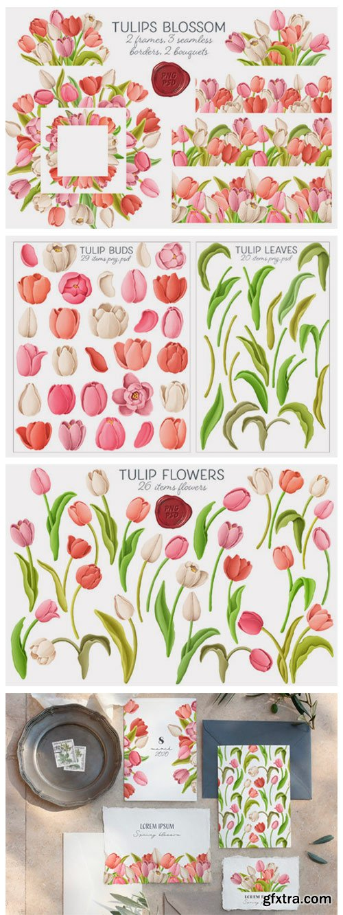 Tulip Flowers Patterns Borders 2774954