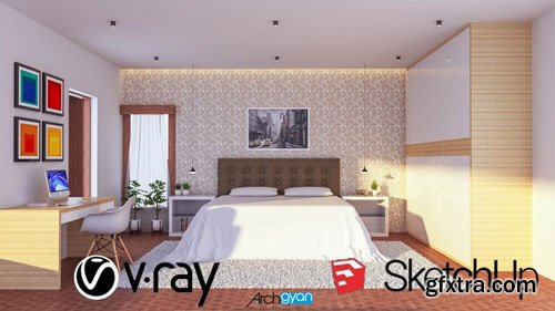 Design a Contemporary Bedroom | Vray Next + Sketchup 2019