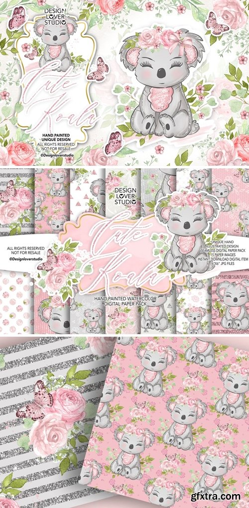 Baby Unicorns design digital paper pack