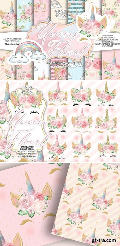 Unicorn Faces Floral Clipart and Floral digital paper pack