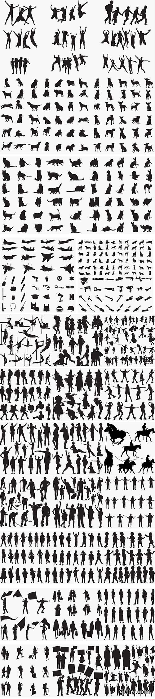 29 Various Pack Black Silhouettes Vector Object