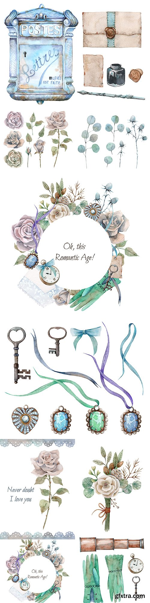 Flowers, decorations and ancient keys watercolor design