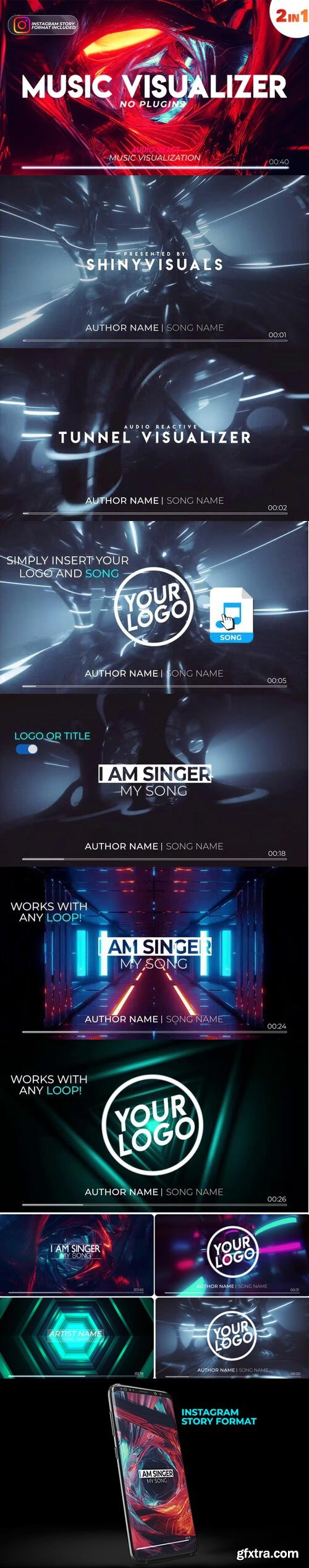 Videohive - Music Visualizer Tunnel with Audio Spectrum - 25505054