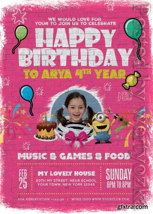Kids Birthday Card - Premium flyer psd template