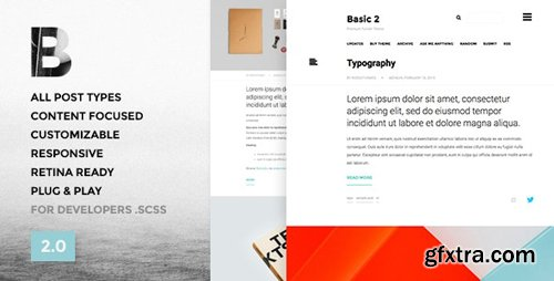 ThemeForest - Basic 3 v3.2.1 - One Column, Blogging Tumblr Theme - 9746114