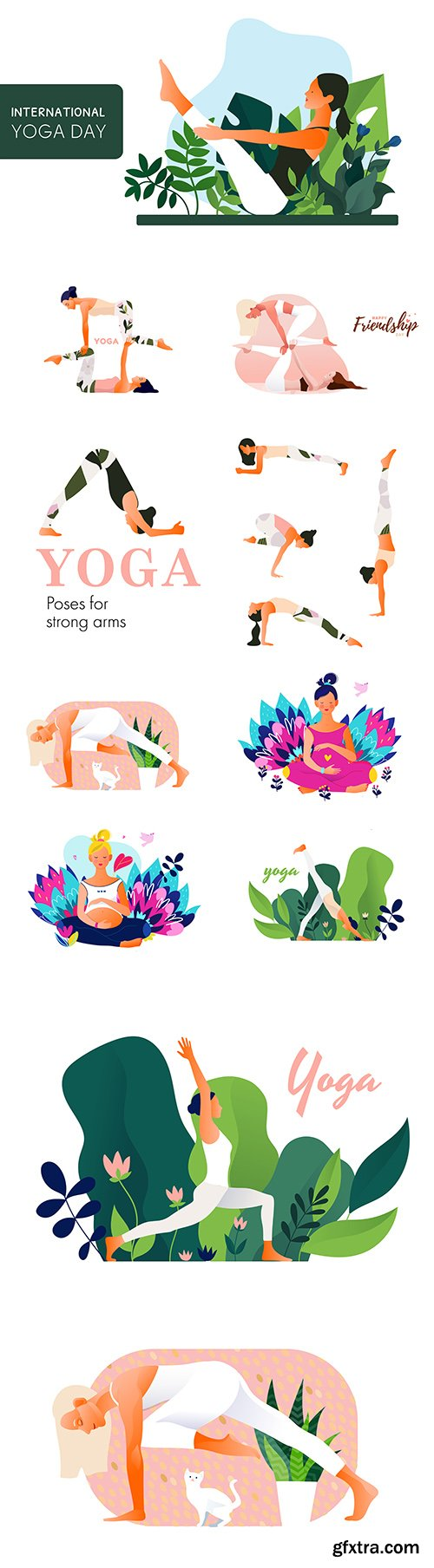 Yoga International day and meditation design illustration 2