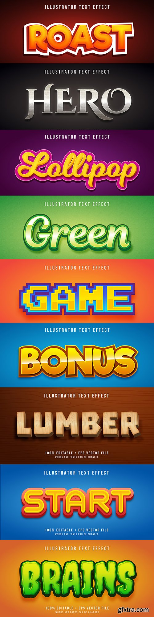 Editable font effect text collection illustration 15