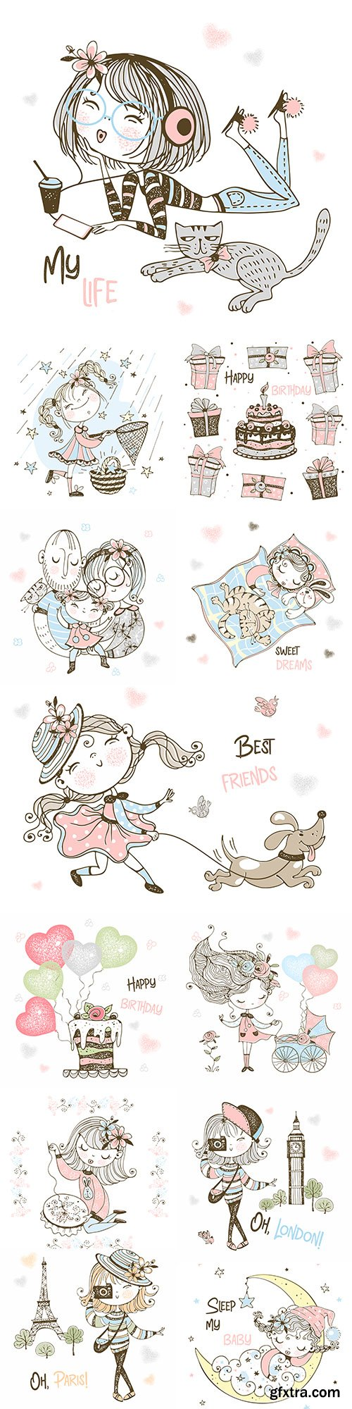 Cute little girl and flowers painted illustrations 4