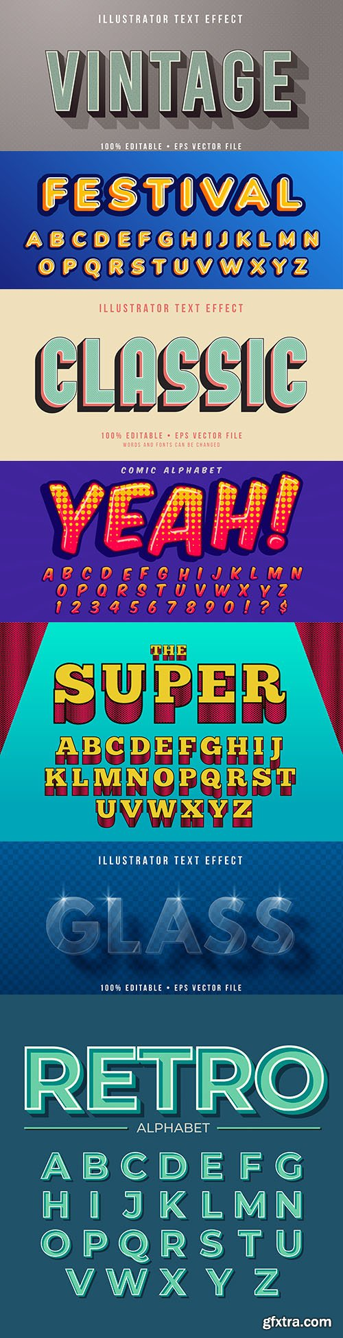Editable retro font effect text collection illustration 16