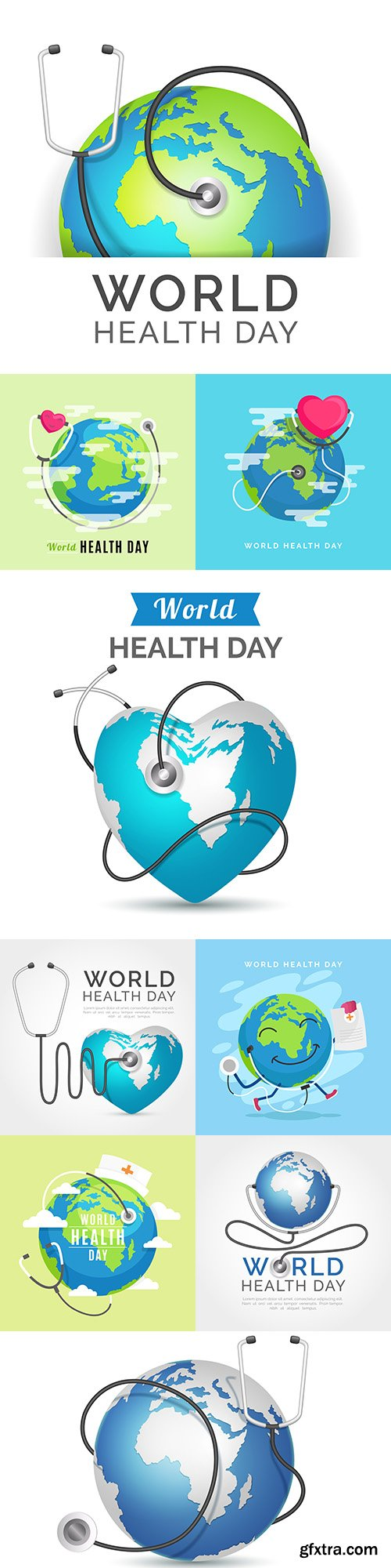World health day with planet land in flat design