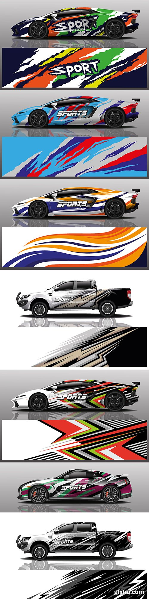 Truck and sports car colorful design sticker