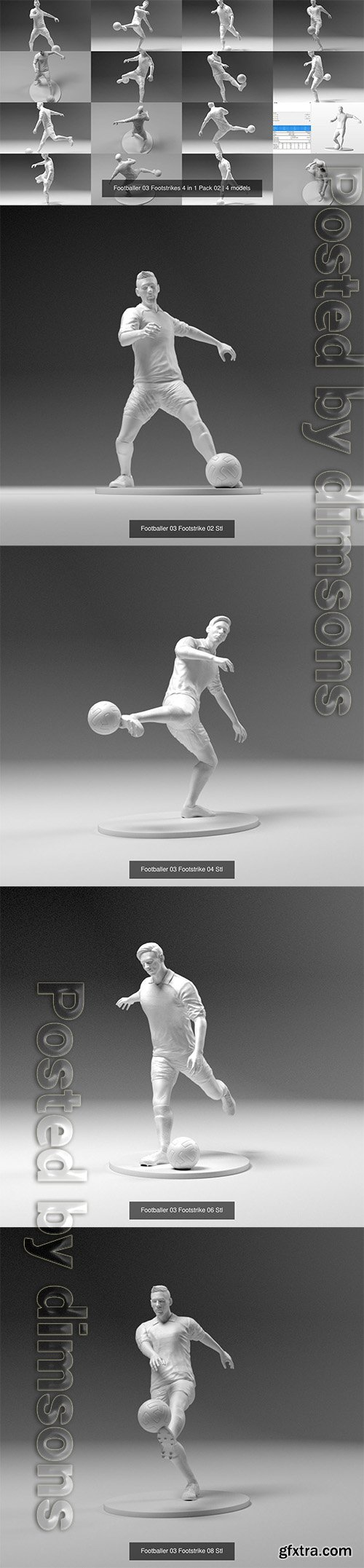 Cgtrader - Footballer 03 Footstrikes 4 in 1 Pack 02 3D Model Collection