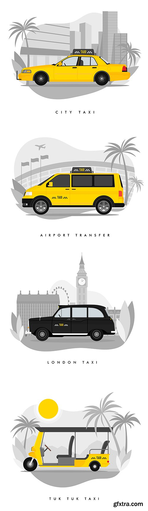 Taxi Services in the city Flat Cartoon Illustrations