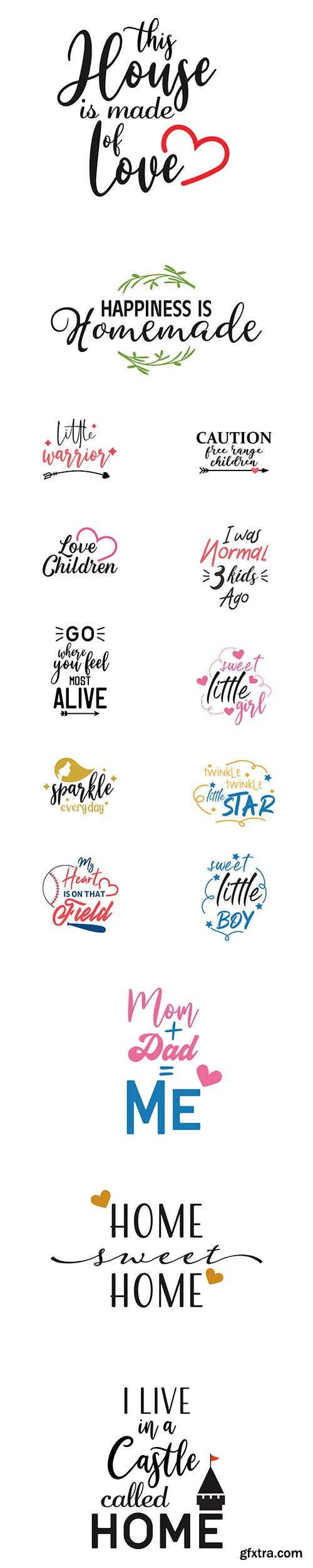 Home, Child and other Quote Lettering Typography Vector Set